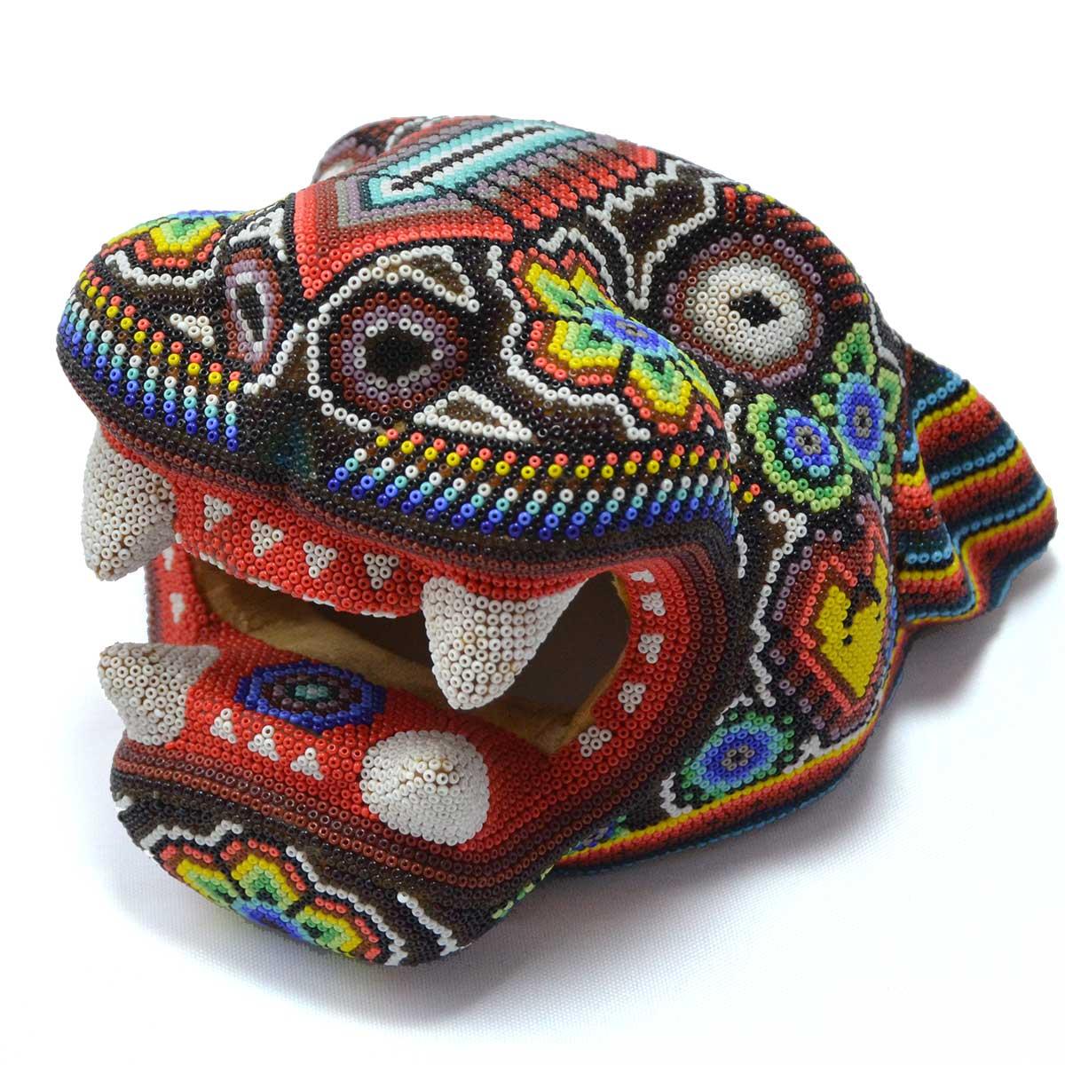 Wixárika (Huichol) Art OctavianoVilla Lopez : Jaguar Head Small Wood Carved & Micro  Beaded with Candle Motif Beaded