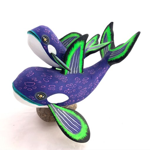 Eleazar Morales Eleazar Morales: Purple Orca Whale and Baby on Fossilized Coral Base Baby Animals