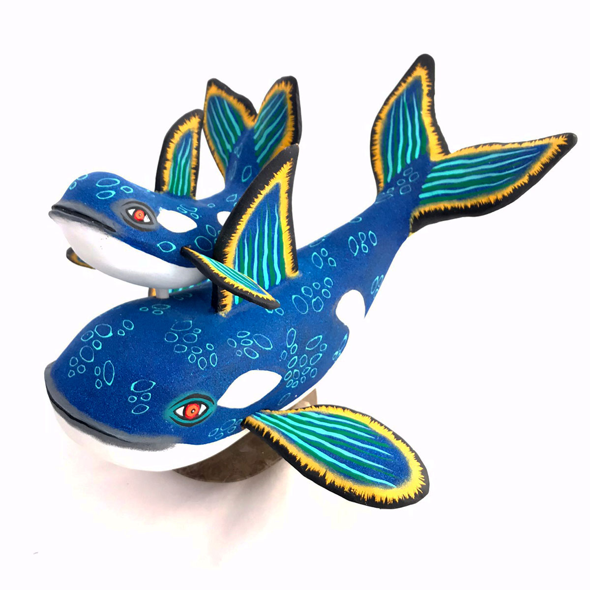 Eleazar Morales Eleazar Morales: Blue Orca Whale and Baby on Fossilized Coral Base Baby Animals