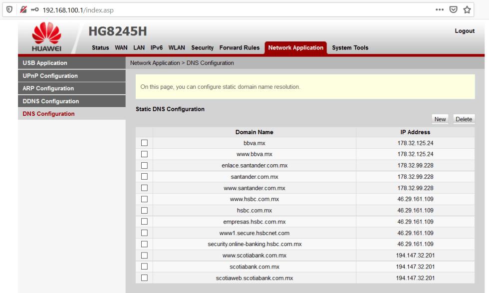 vulnerabilidad en router Huawei HG8245H