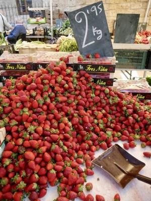 Strawberries market stall