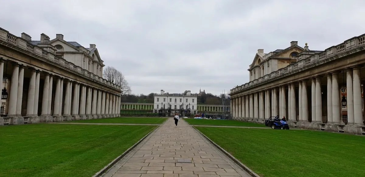 UNESCO Maritime Greenwich looking up through Wren colonnades to the Queens House