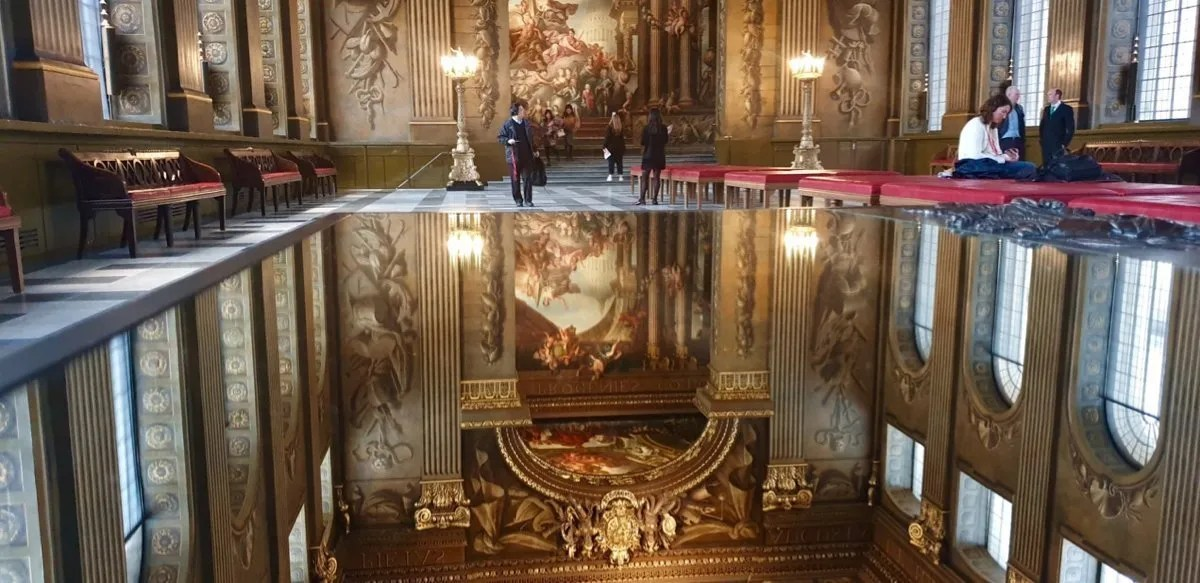 Baroque painted ceiling reflected in mirror Painted Hall Greenwich