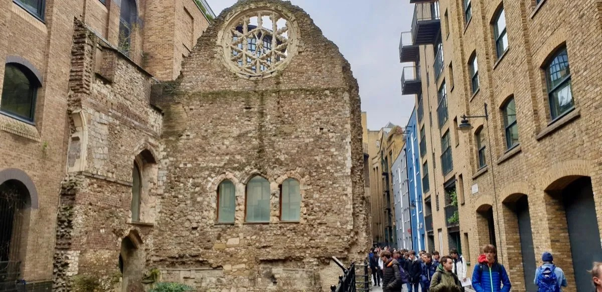 Ruined ecclesiastical building with rose window Winchester Palace London
