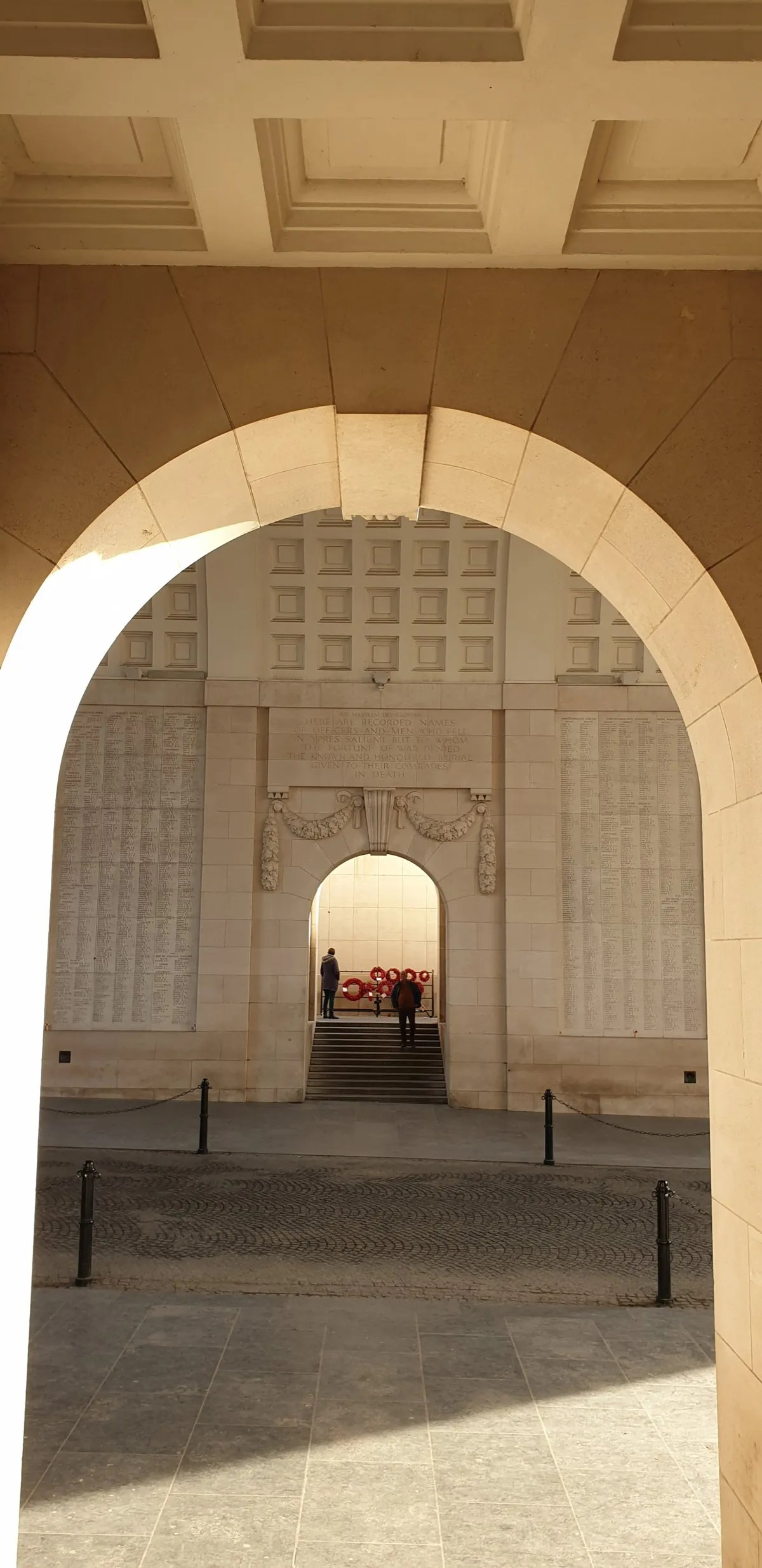 Menin Gate Ypres with poppies