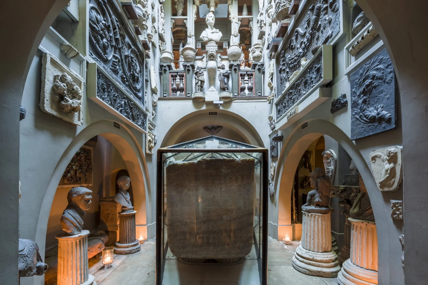 Sepulchral Chamber and the Sarcophagus of Seti I by candlelight photo