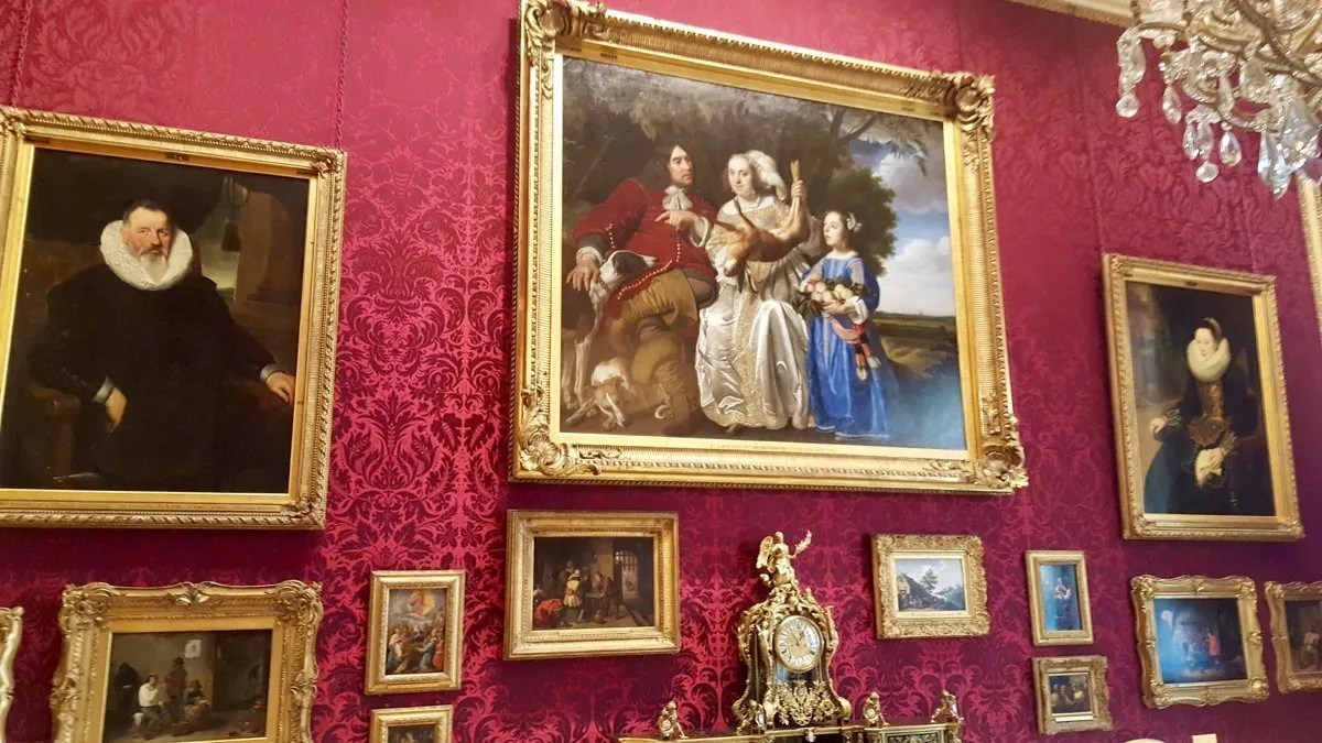 Art gallery with painting of Van Aras family in gilt frame at the Wallace Collection