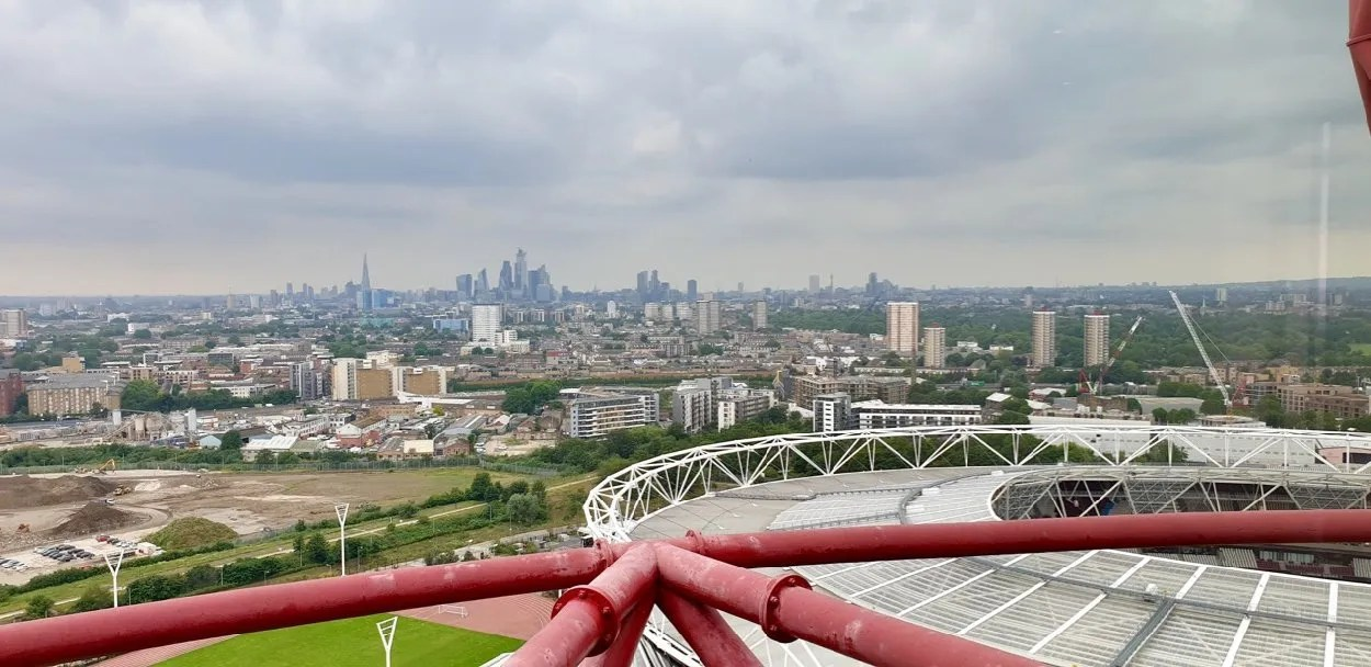 View of City of London in distance from ArcelorMittalOrbit