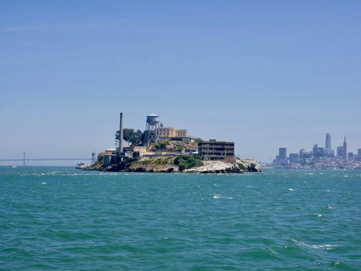 Alcatraz Island with bay bridge and San Francisco skyline