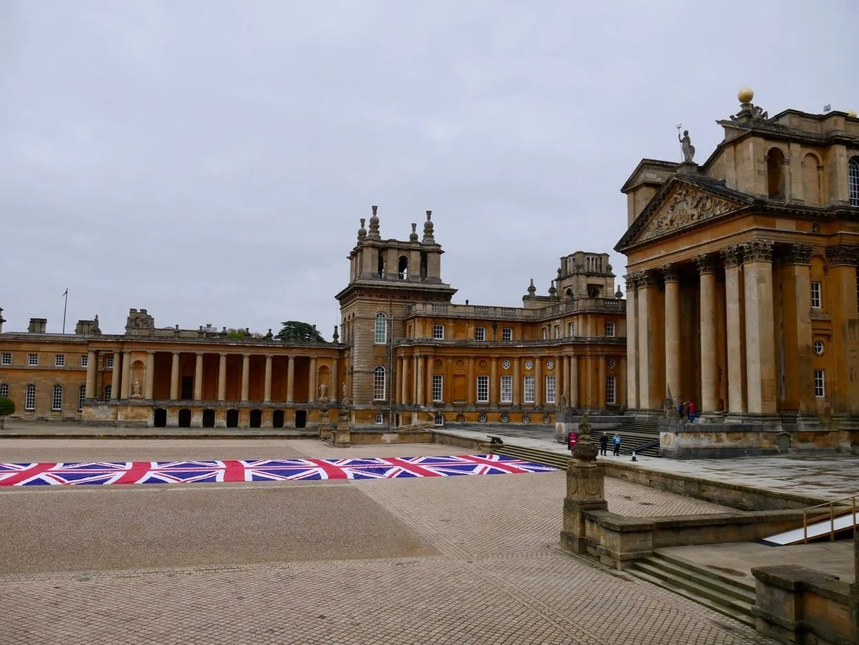 Courtyard Blenheim Palace with Union Jack Mauritizio Cattelan