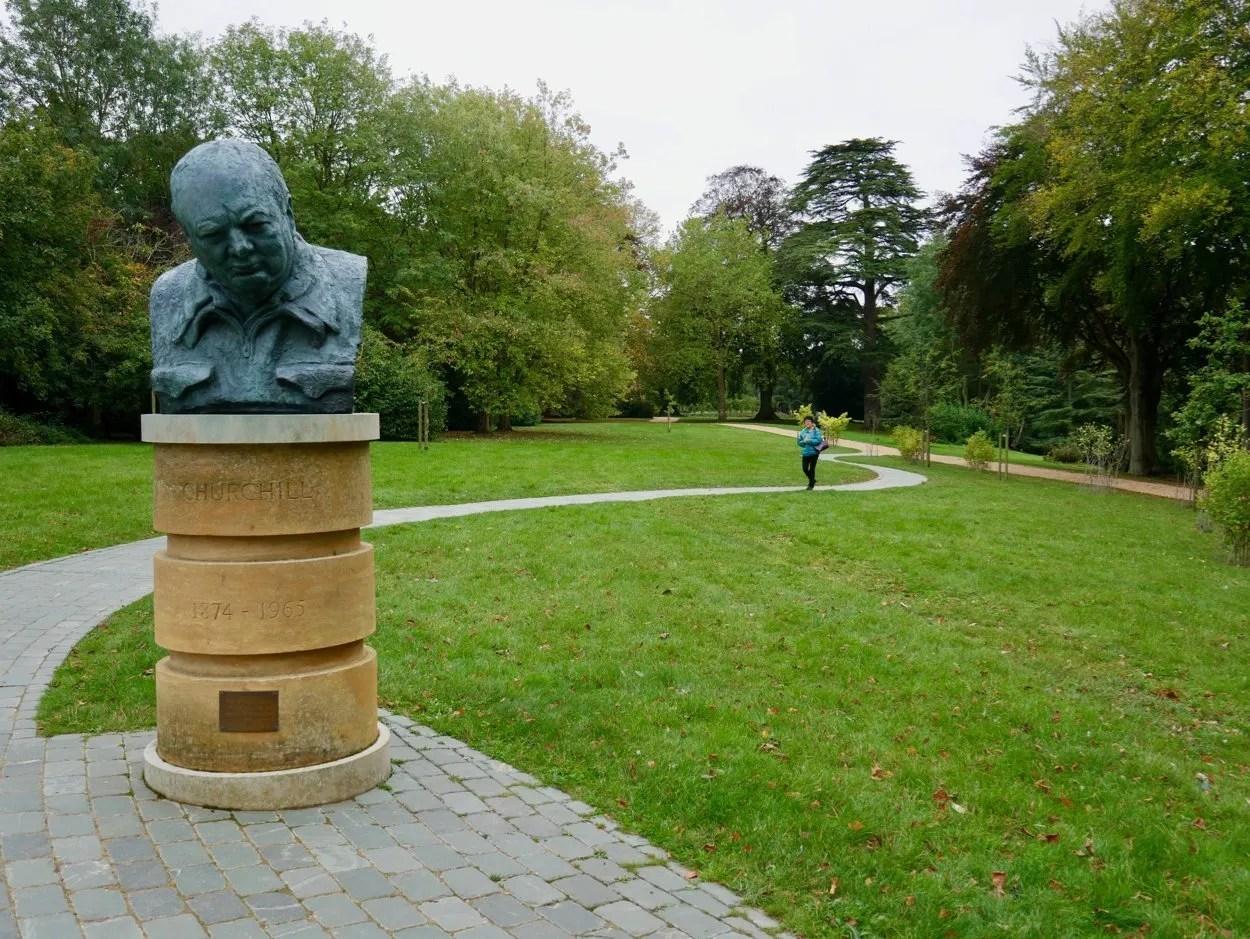 Bust of Winston Churchill in parkland