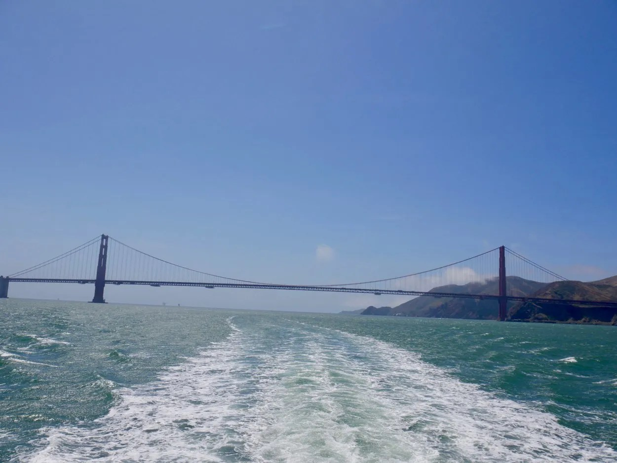 Golden Gate Bridge San Francisco with boat wake
