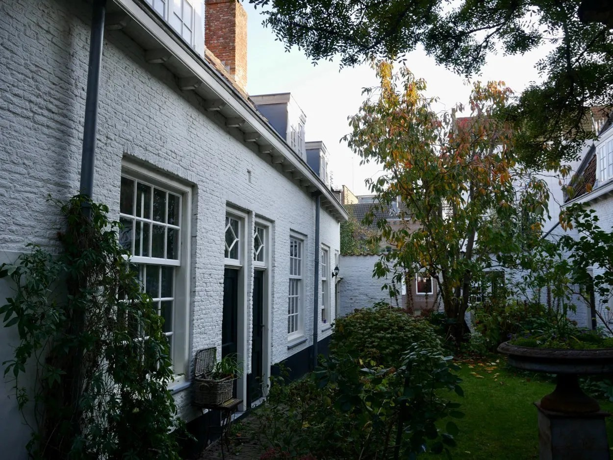 White houses in a courtyard almshouses