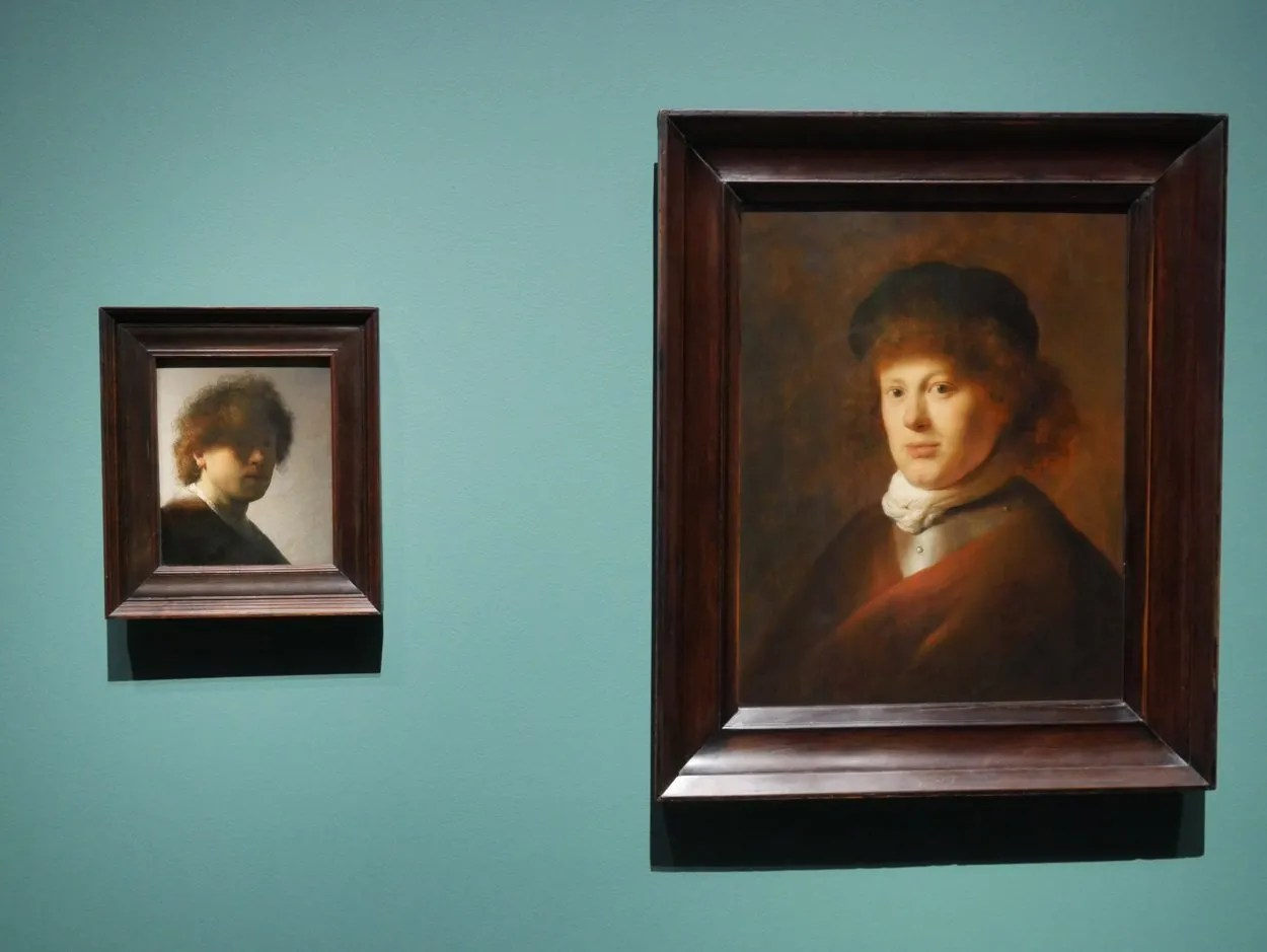 Rembrandt self portrait with contemporary portrait