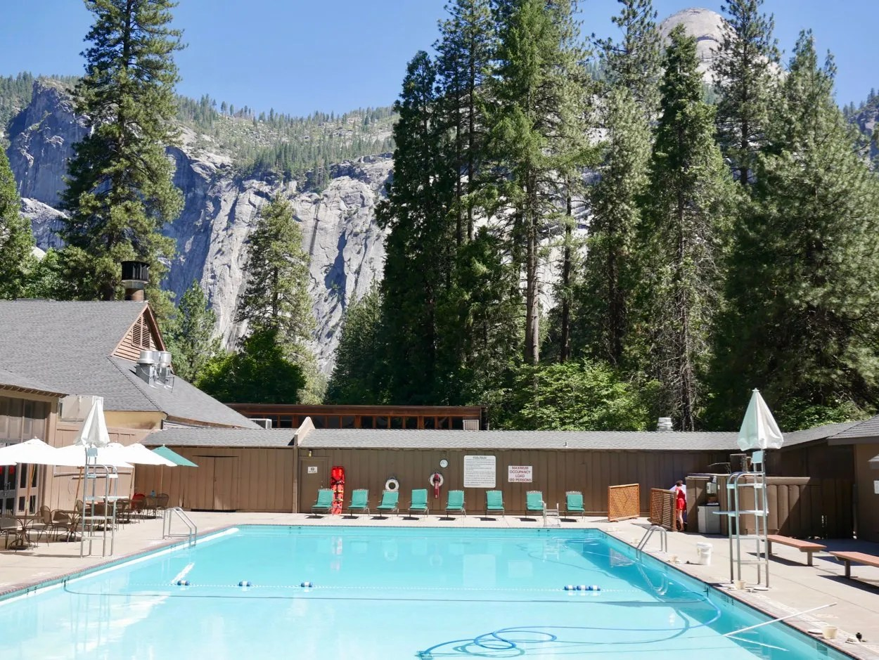 Swimming pool with Yosemite valley in background