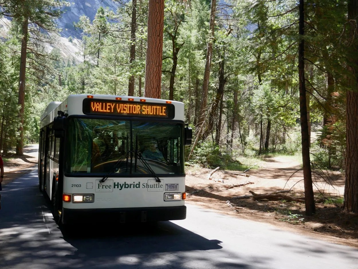 Valley Visitor Shuttle bus Yosemite Valley amid trees