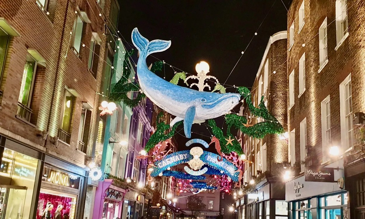 Blue Whale Christmas Lights Carnaby Street London