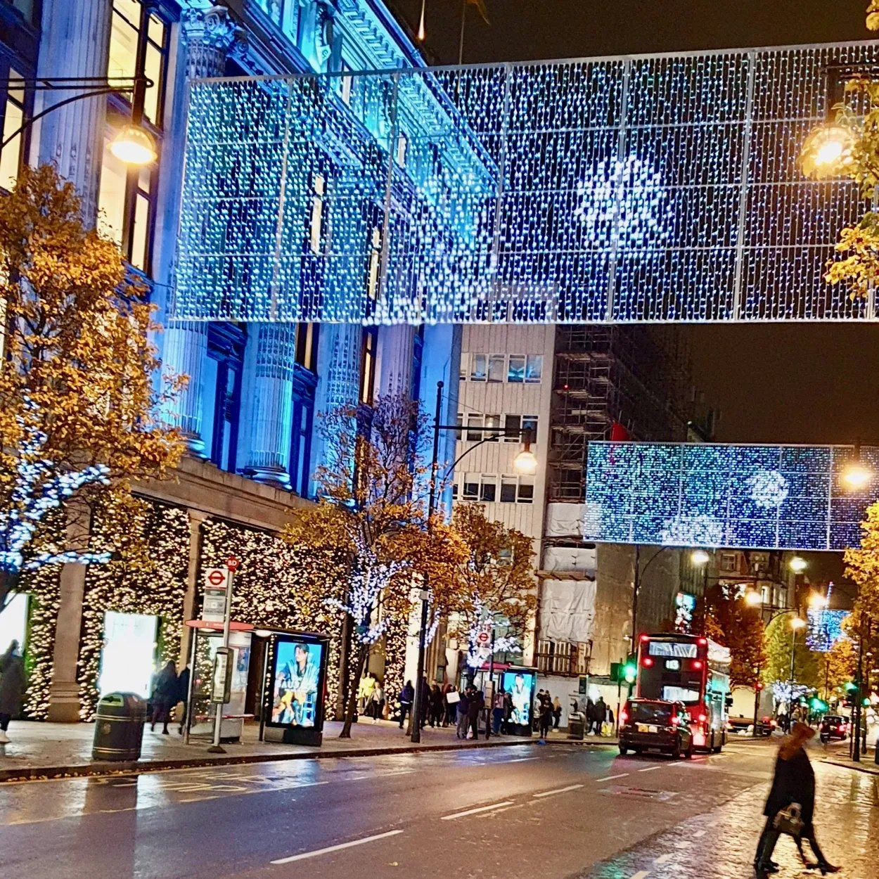 Sheets of LED Christmas lights Oxford Street London