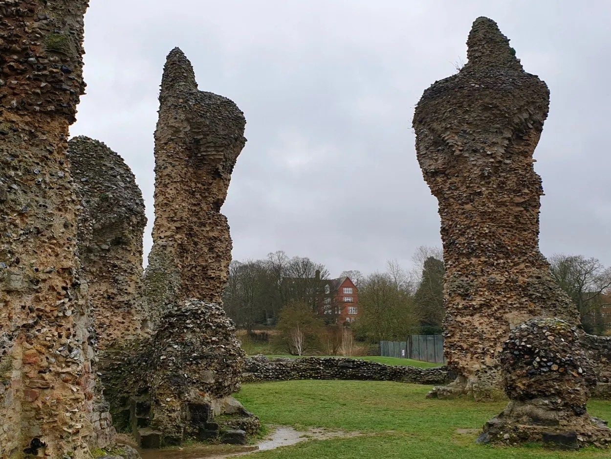 Flint ruins of Bury St Edmunds Abbey