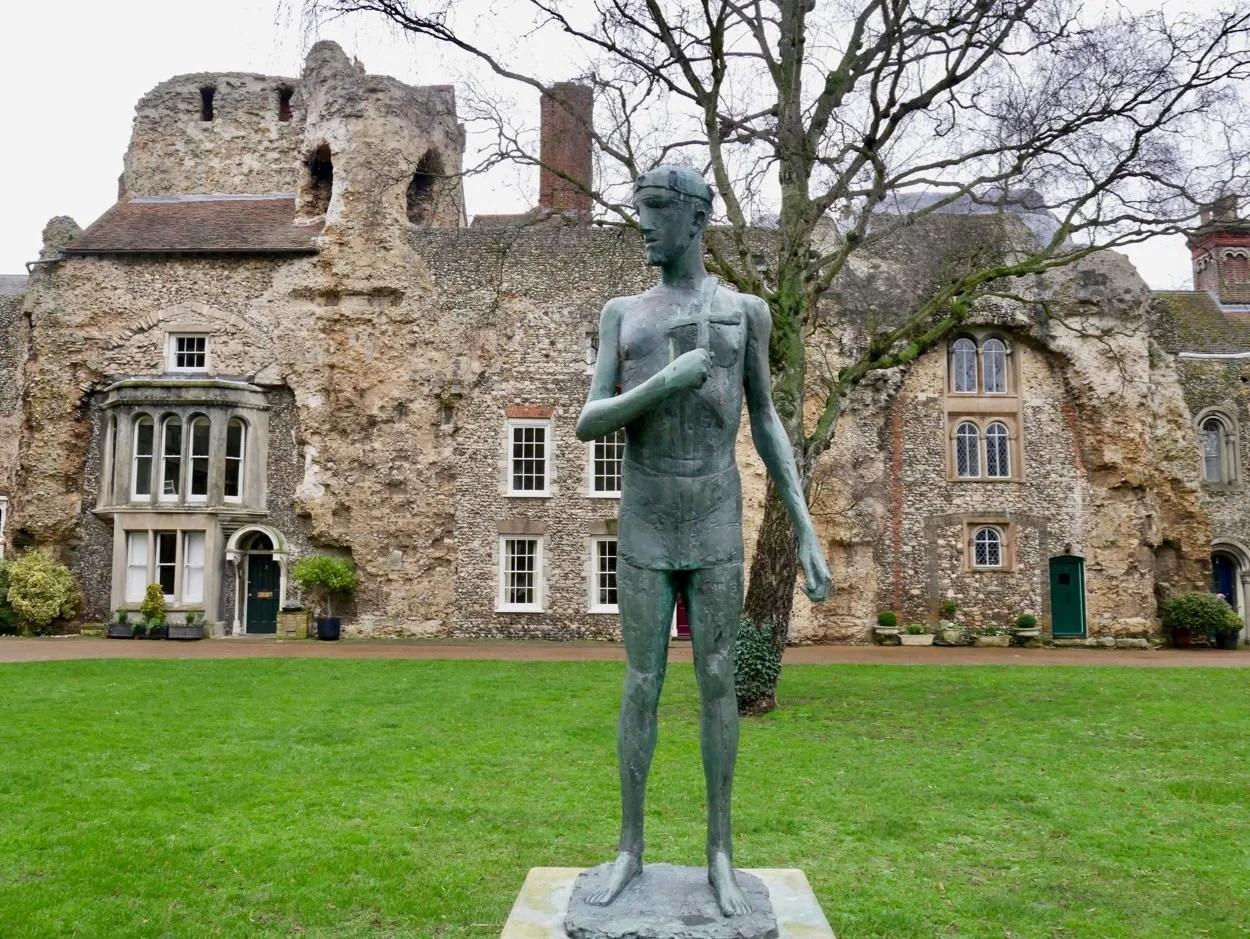 Bronze statue of St Edmund by Elizabeth Frink
