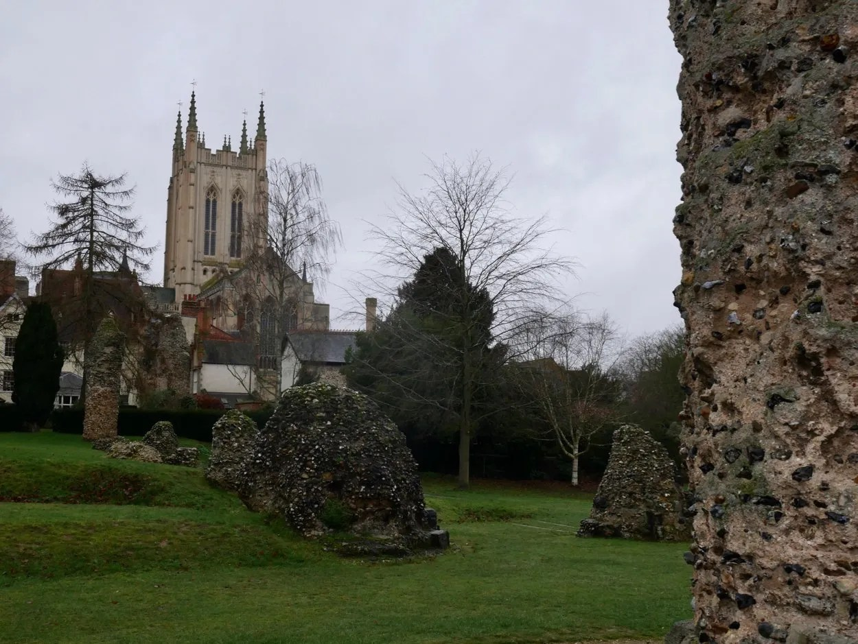Norman Abbey ruins with St Edmundsbury Cathedral in background