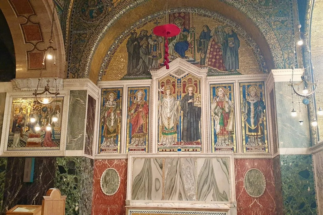 Mosaic altarpiece chapel of St Gregory and St Augustine Westminster Cathedral London