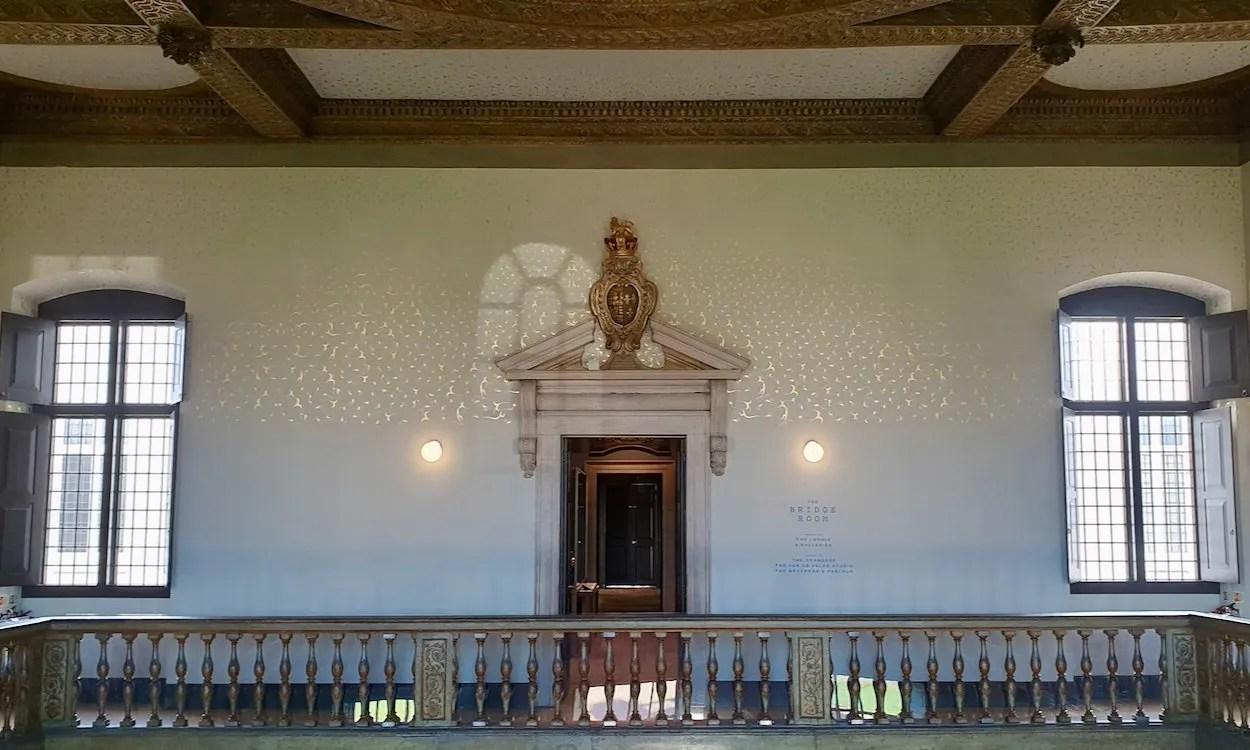 Balaustrade with doorway beyond upper floor of Great Hal Queen's House Greenwich