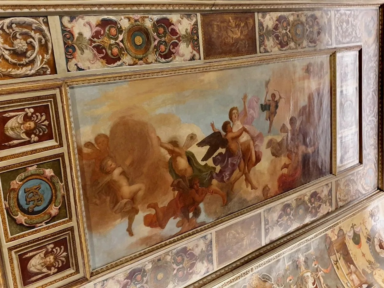 Ornately painted ceiling Queen's presence room Queen's House Greenwich