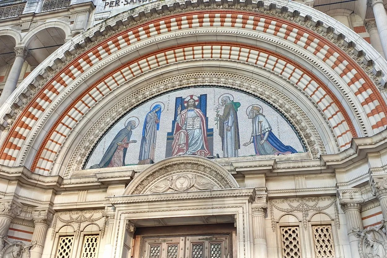 Moasic of Christ Enthroned West Door Westminster Cathedral London