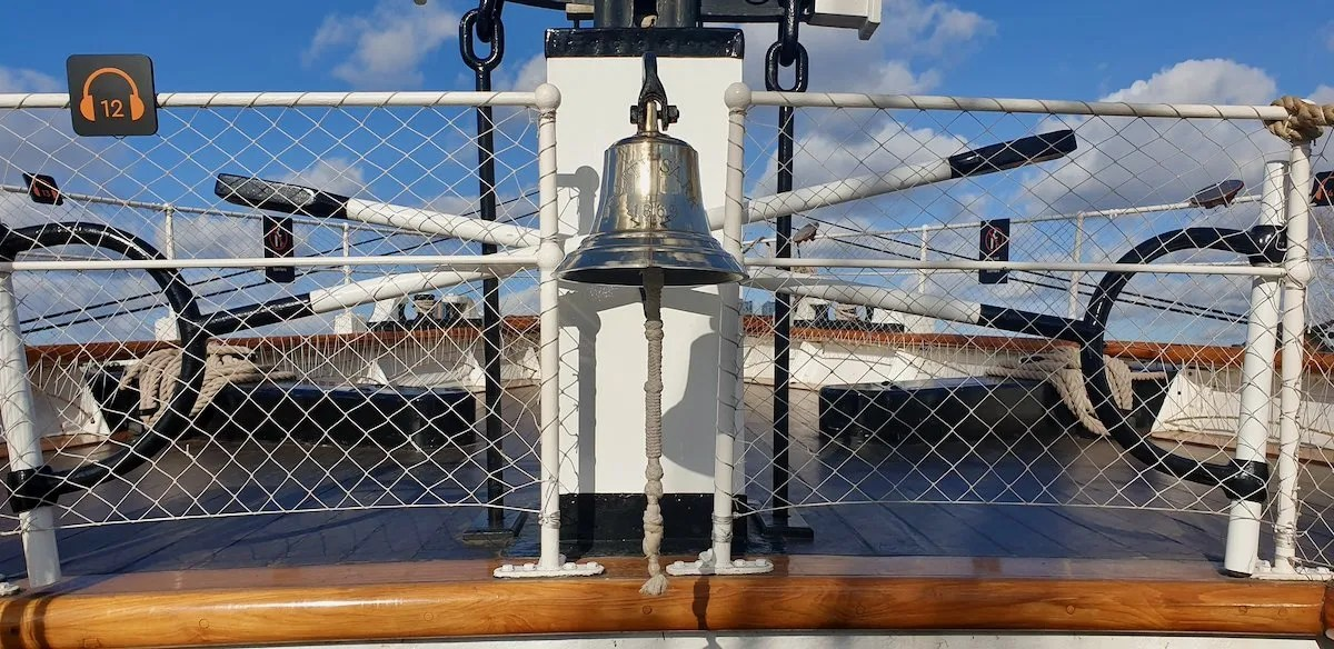 ships bell on ship deck