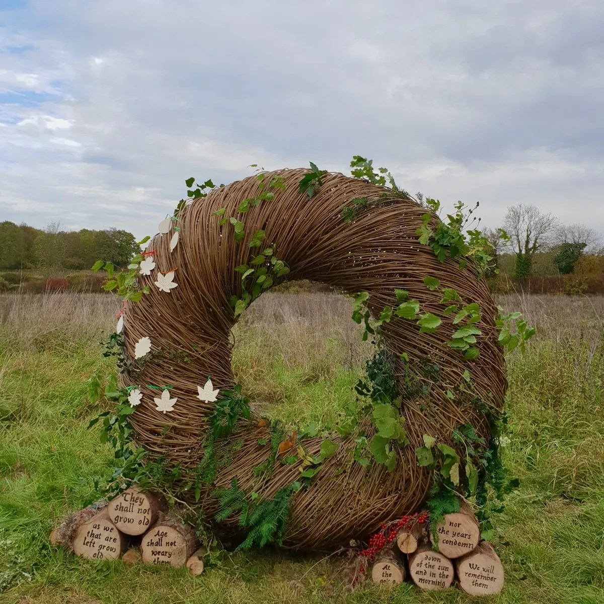 Willow remembrance wreath woven by Victoria Westaway at Langley Vale Wood