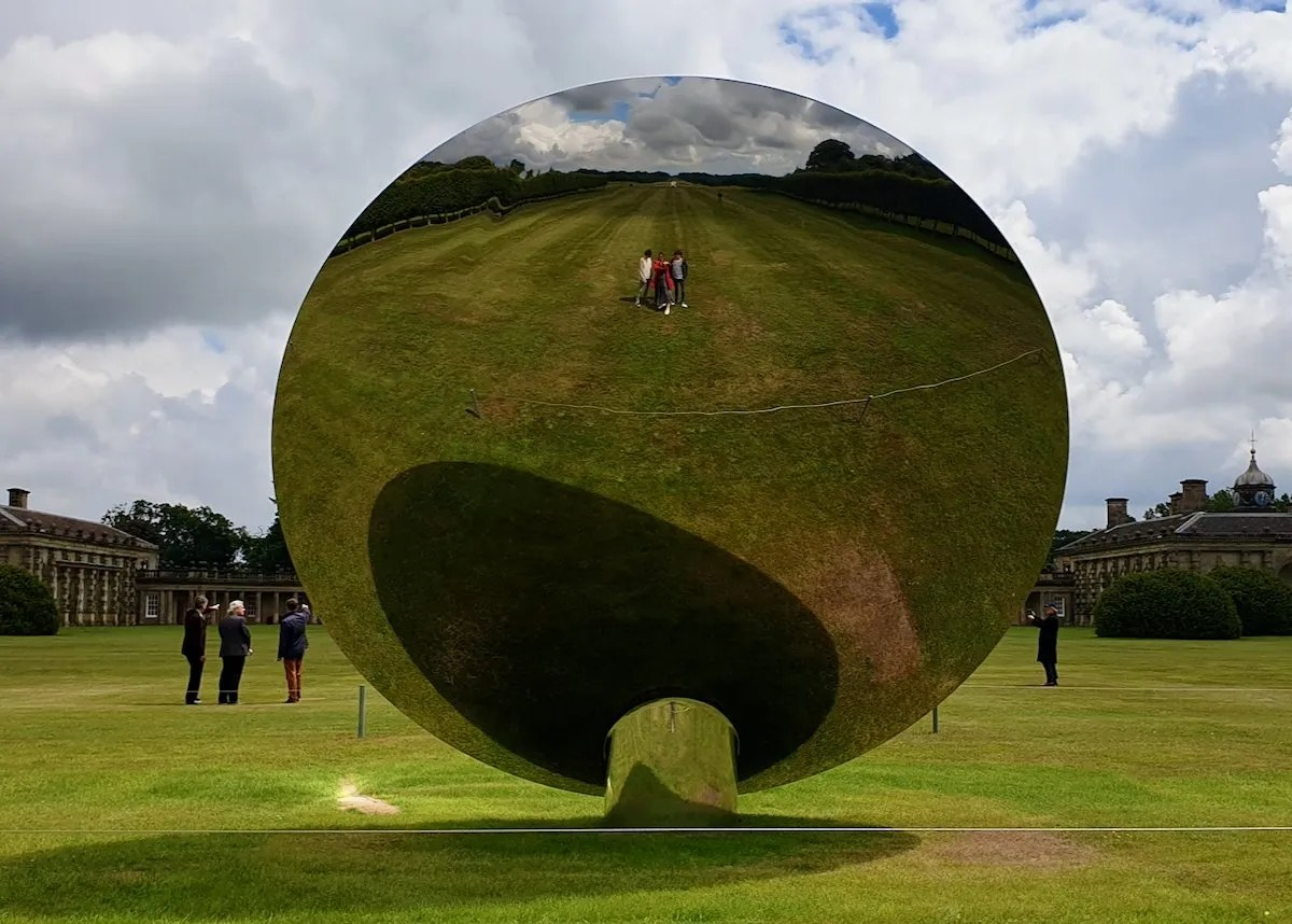 Selfie taken in reverse side of Sky Mirror by Anish Kapoor at Houghton Hall