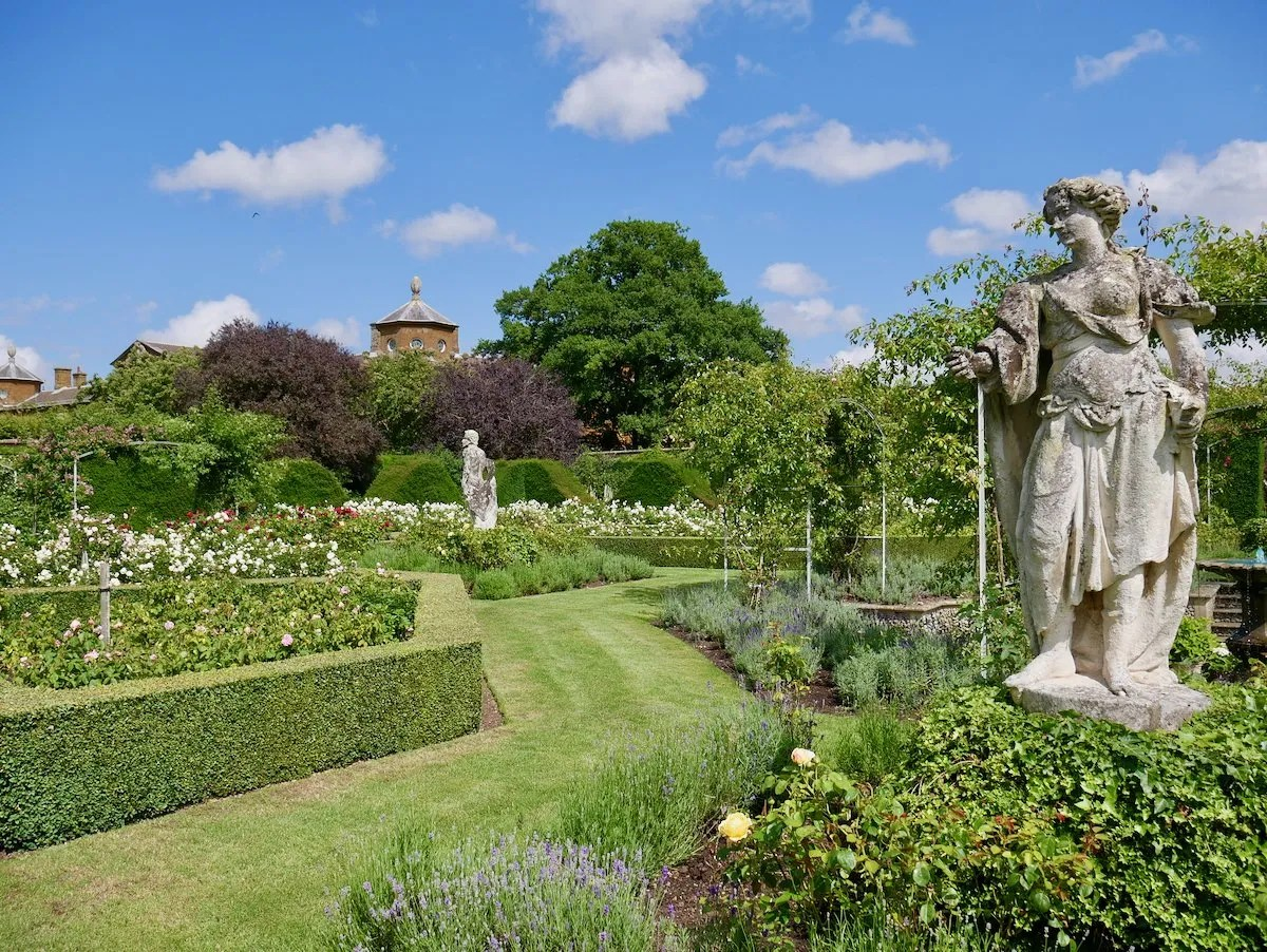 Walled garden with classical sculpture Houghton Hall