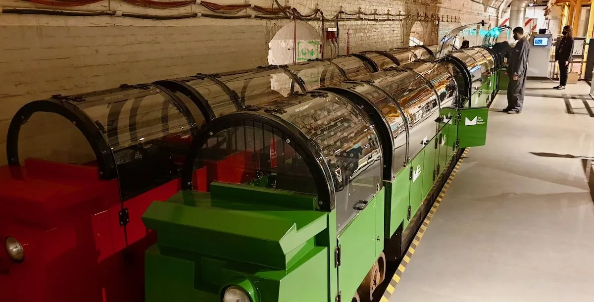 Mail Rail train ready to depart at Postal Museum London