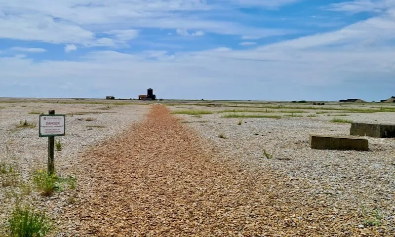 Red shingle path leading to Black Beacon Orford Ness