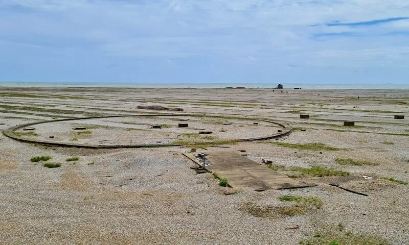 Metal circle in the shingle on Orford Ness