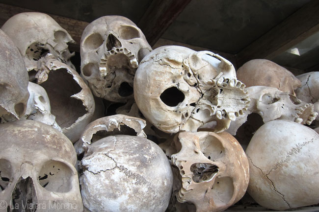Human skulls at the Killing Fields