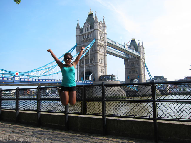 Jumping in front of the Tower Bridge