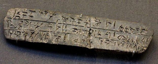 """tavoletta d'argilla riporta iscrizioni in scrittura """"lineare b""""."""
