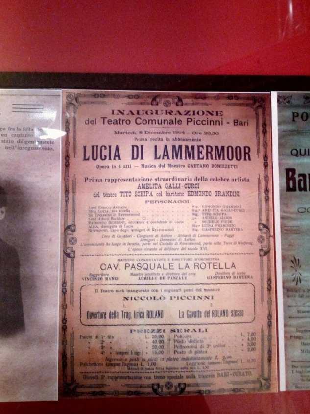 """Locandina di """"Lucia di Lammermoor"""" messa in scena al Teatro Piccinni di Bari il 9 dicembre 1914 con la direzione del maestro Pasquale La Rotella."""