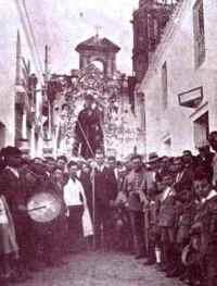 Foto de la procesión de San Antonio Abad en 1.936 en Trigueros (Huelva)