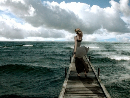 lonely woman waves