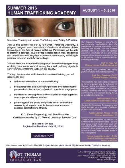 Summer 2016 Human Trafficking Academy--REGISTER TODAY