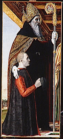 AMBROGIO DA FOSSANO, BERGOGNONE IL (dit).SAINT AUGUSTIN ET UN DONATEUR AGENOUILLE(4e quart 15e siècle ; 1er quart 16e siècle)