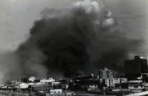 Port of Spain under Thick Smoke, July 27, 1990 Image Courtesy: Trinidad Express