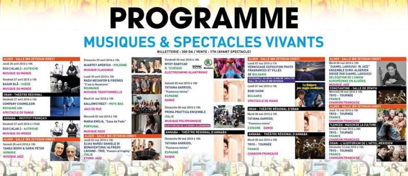 19ème Festival Culturel Européen en Algérie- Programme