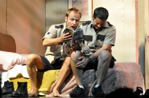 "Yanko Bakulic and Eric Robledo in ""La estupidez,"" directed by Julian Mesri at Repertorio Español in NYC"
