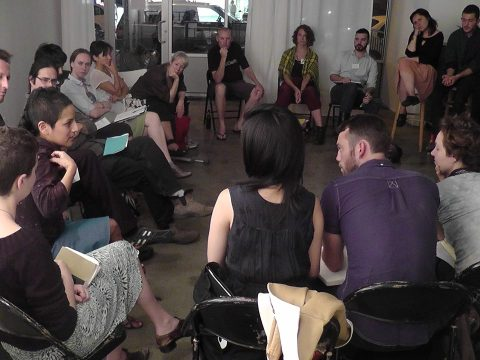 Discussing Amapola Prada's REVOLUTION, at Glasshouse. Photo by Yelena Gluzman