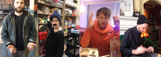 left to right: Brian McCorkle at Red Star Studios in Kansas City, Esther Neff in the supply closet at Three Rivers Public Library in Michigan, Edward Sharp at a diner somewhere along the highway, David Griess at Rae Goodwin's house in Kentucky