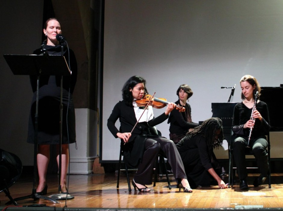 Members of Ensemble Pi: From left to right: Kristin Norderval (voice); Airi Yoshioka, violin; Idith Meshulam, piano; Members of Ensemble Pi: From left to right: Kristin Norderval (voice); Airi Yoshioka, violin; Idith Meshulam, piano; Carol McGonnell, guest clarinetist.